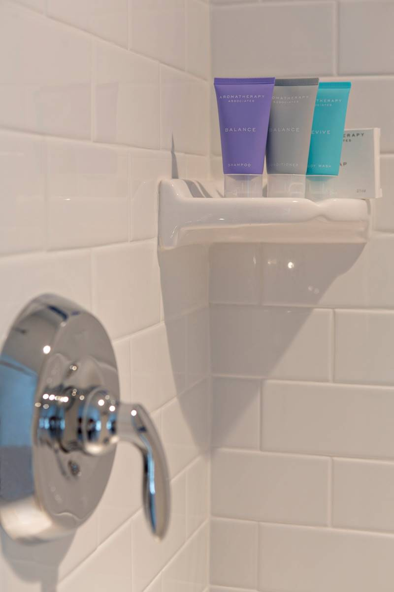 Updated bathroom and shower details at Inn on Shore Road